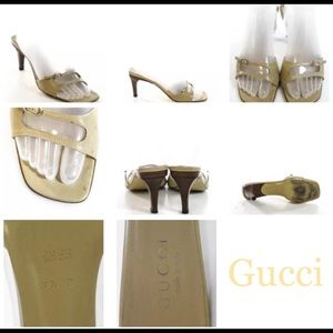 AUTH GUCCI  LEATHER GOLD TONE OPEN TOE  SZ 7.5